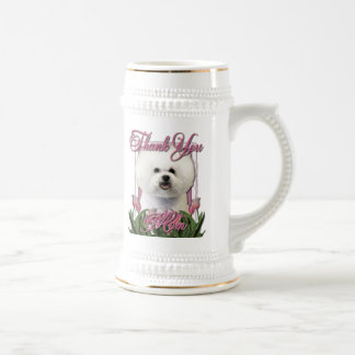 Thank You - Pink Tulips - Bichon Frise Beer Steins