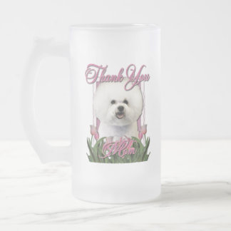 Thank You - Pink Tulips - Bichon Frise Frosted Glass Beer Mug