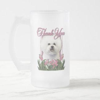 Thank You - Pink Tulips - Bichon Frise Frosted Glass Mug