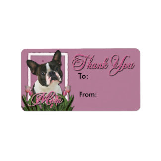 Thank You - Pink Tulips - Boston Terrier Address Label