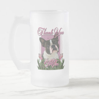 Thank You - Pink Tulips - Boston Terrier Frosted Glass Mug