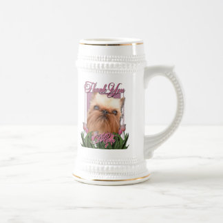 Thank You - Pink Tulips - Brussels Griffon Beer Steins