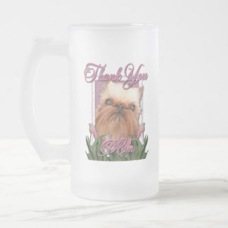 Thank You - Pink Tulips - Brussels Griffon Frosted Glass Mug