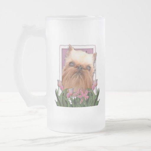 Thank You - Pink Tulips - Brussels Griffon Mug