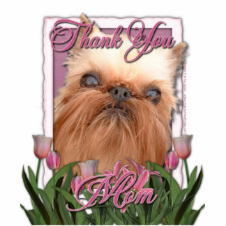 Thank You - Pink Tulips - Brussels Griffon Standing Photo Sculpture