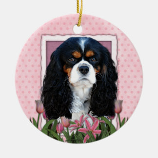 Thank You - Pink Tulips - Cavalier - Tri-Color Ceramic Ornament