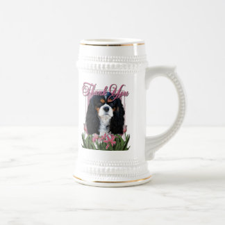 Thank You - Pink Tulips - Cavalier - Tri-Color 18 Oz Beer Stein