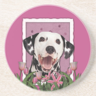 Thank You - Pink Tulips - Dalmatian Drink Coasters