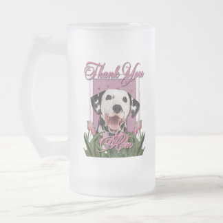 Thank You - Pink Tulips - Dalmatian Frosted Glass Beer Mug