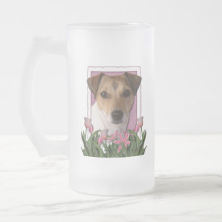 Thank You - Pink Tulips - Jack Russell Frosted Glass Mug