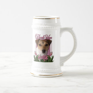 Thank You - Pink Tulips - Jack Russell 18 Oz Beer Stein