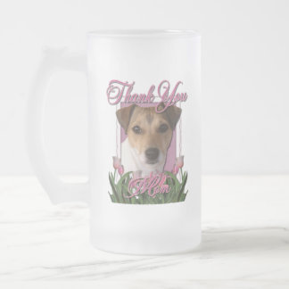 Thank You - Pink Tulips - Jack Russell 16 Oz Frosted Glass Beer Mug