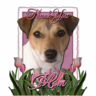 Thank You - Pink Tulips - Jack Russell Cut Out