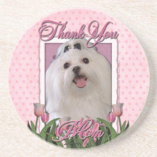 Thank You - Pink Tulips - Maltese Drink Coaster