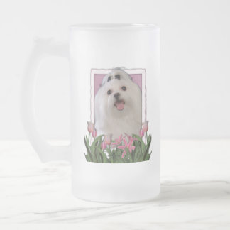 Thank You - Pink Tulips - Maltese Frosted Glass Mug