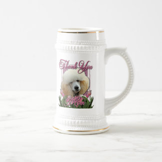 Thank You - Pink Tulips - Poodle - Apricot Beer Stein