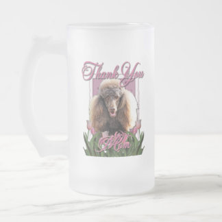 Thank You - Pink Tulips - Poodle - Chocolate Frosted Glass Mug