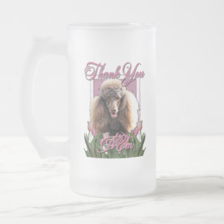 Thank You - Pink Tulips - Poodle - Chocolate 16 Oz Frosted Glass Beer Mug