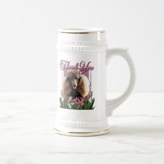 Thank You - Pink Tulips - Poodle - Chocolate 18 Oz Beer Stein