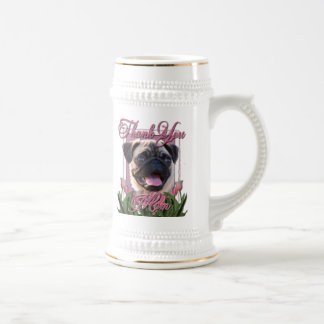 Thank You - Pink Tulips - Pug Beer Stein