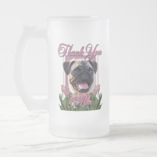 Thank You - Pink Tulips - Pug Frosted Glass Mug