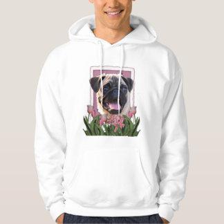 Thank You - Pink Tulips - Pug Hoodie