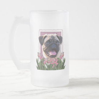 Thank You - Pink Tulips - Pug Coffee Mug