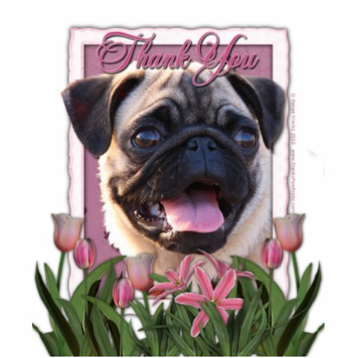 Thank You - Pink Tulips - Pug Cut Out