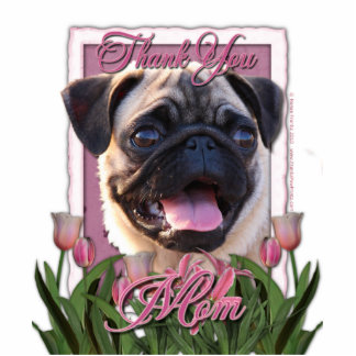 Thank You - Pink Tulips - Pug Photo Cutouts