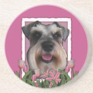 Thank You - Pink Tulips - Schnauzer Drink Coaster