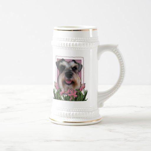 Thank You - Pink Tulips - Schnauzer Mugs