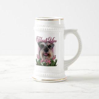 Thank You - Pink Tulips - Schnauzer Beer Steins