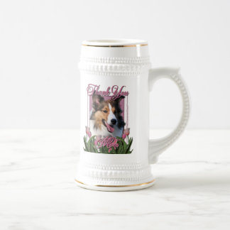Thank You - Pink Tulips - Sheltie Beer Stein
