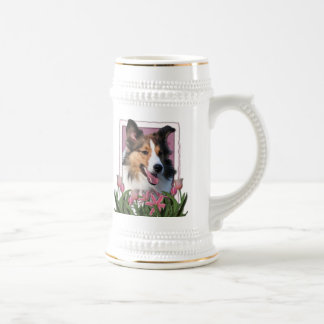Thank You - Pink Tulips - Sheltie 18 Oz Beer Stein