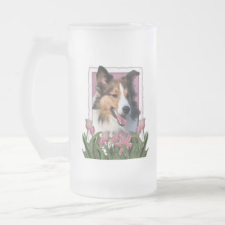 Thank You - Pink Tulips - Sheltie Frosted Glass Mug