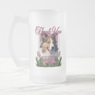 Thank You - Pink Tulips - Sheltie 16 Oz Frosted Glass Beer Mug