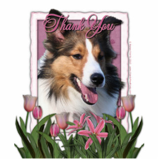 Thank You - Pink Tulips - Sheltie Photo Cutout