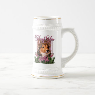 Thank You - Pink Tulips - Sheltie Puppy - Cooper Coffee Mugs