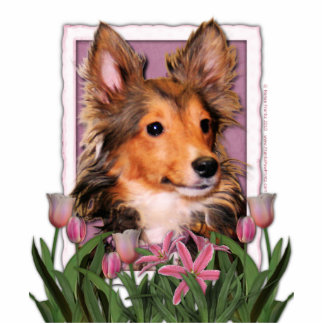 Thank You - Pink Tulips - Sheltie Puppy - Cooper Standing Photo Sculpture