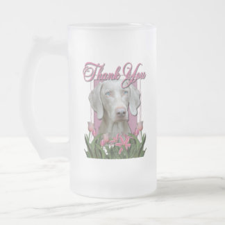 Thank You - Pink Tulips - Weimeraner - Blue Eyes Frosted Glass Mug