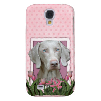 Thank You - Pink Tulips - Weimeraner - Blue Eyes Galaxy S4 Cases