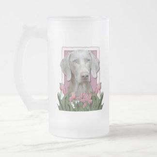 Thank You - Pink Tulips - Weimeraner - Blue Eyes Coffee Mug