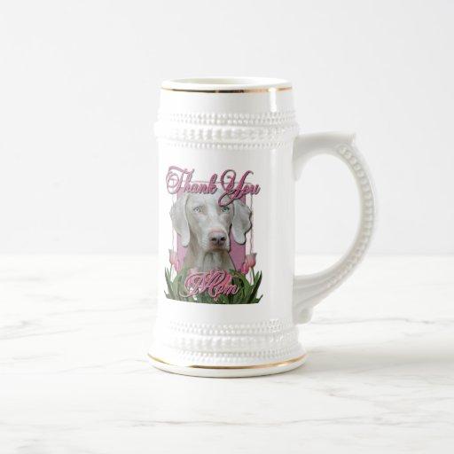Thank You - Pink Tulips - Weimeraner - Blue Eyes Mug