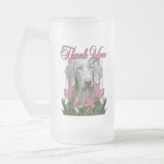 Thank You - Pink Tulips - Weimeraner - Golden Eyes 16 Oz Frosted Glass Beer Mug