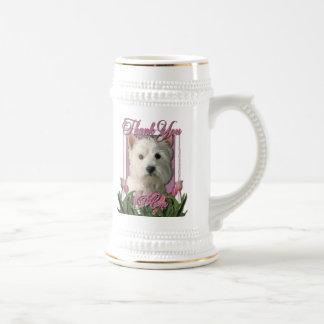 Thank You - Pink Tulips - West Highland Terrier 18 Oz Beer Stein