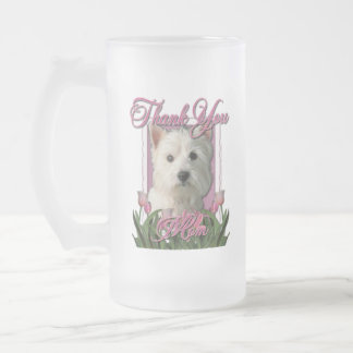 Thank You - Pink Tulips - West Highland Terrier Frosted Glass Mug