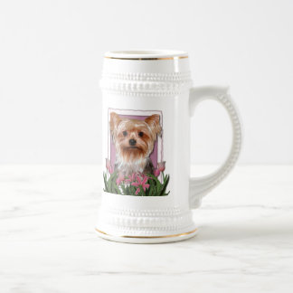 Thank You - Pink Tulips - Yorkshire Terrier Beer Stein