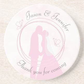 """Thank You"" Pink Wedding Sandstone Drink Coaster"
