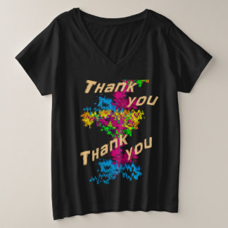 Thank you plus size V-Neck T-Shirt