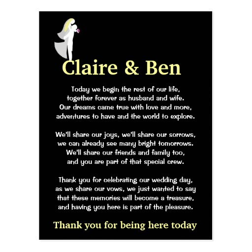 Wedding Gift Poem From Guest : Thank you poem for wedding day guests postcard Zazzle